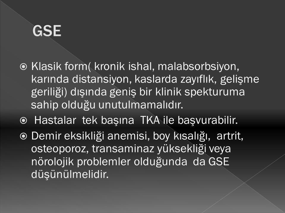  Klasik form( kronik ishal, malabsorbsiyon, karında distansiyon, kaslarda zayıflık, gelişme geriliği) dışında geniş bir klinik spekturuma sahip olduğ
