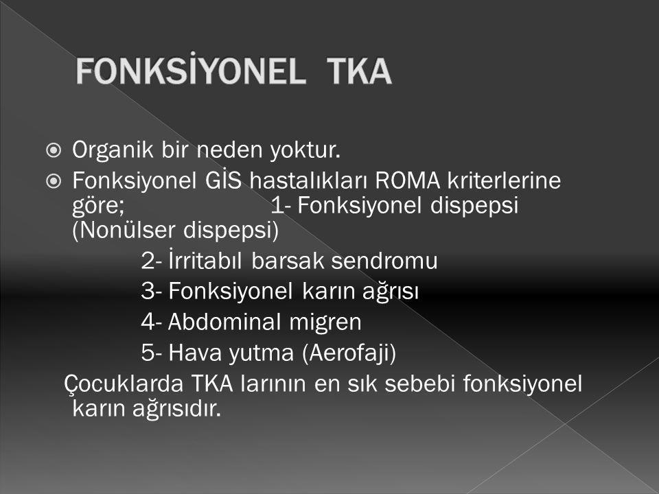  Organik bir neden yoktur.  Fonksiyonel GİS hastalıkları ROMA kriterlerine göre; 1- Fonksiyonel dispepsi (Nonülser dispepsi) 2- İrritabıl barsak sen
