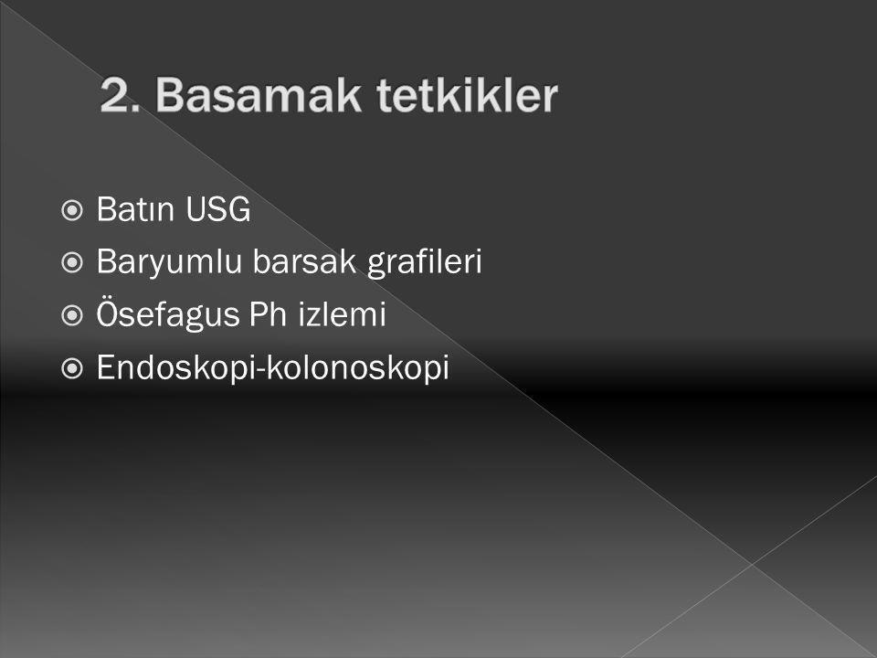  Batın USG  Baryumlu barsak grafileri  Ösefagus Ph izlemi  Endoskopi-kolonoskopi
