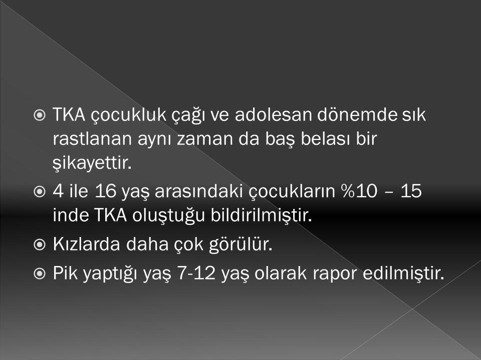  TKA nın ayırıcı tanısı çok geniştir.Bu sebeple dikkatli hikaye alınması ve ayrıntılı bir FM yapılması sonucunda seçilmiş laboratuvar testlerinin yapılması gerekir.