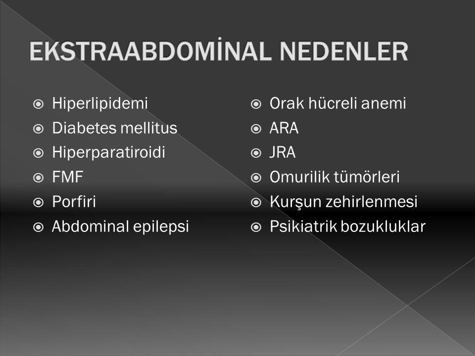  Hiperlipidemi  Diabetes mellitus  Hiperparatiroidi  FMF  Porfiri  Abdominal epilepsi  Orak hücreli anemi  ARA  JRA  Omurilik tümörleri  Ku
