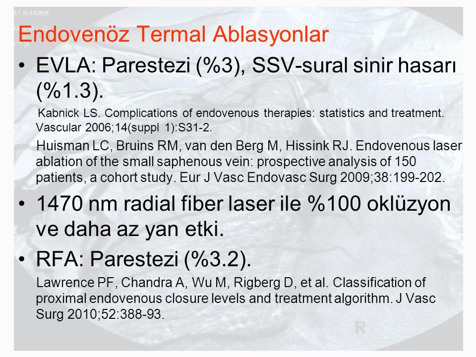Endovenöz Termal Ablasyonlar EVLA: Parestezi (%3), SSV-sural sinir hasarı (%1.3).