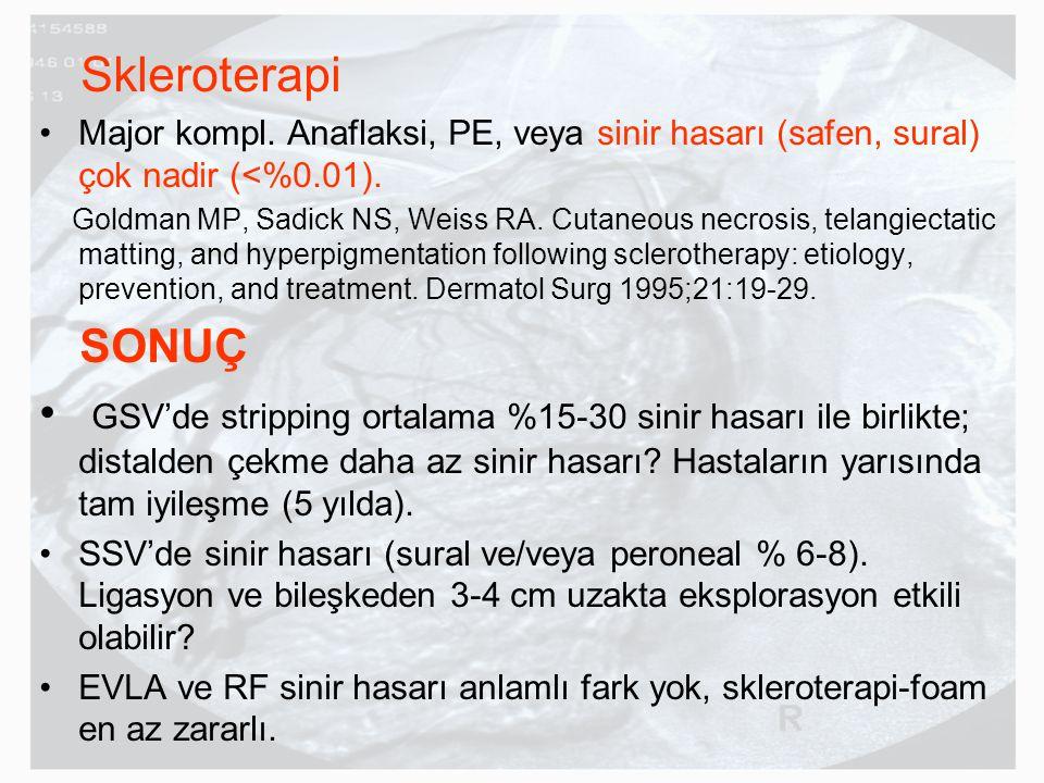 Skleroterapi Major kompl. Anaflaksi, PE, veya sinir hasarı (safen, sural) çok nadir (<%0.01). Goldman MP, Sadick NS, Weiss RA. Cutaneous necrosis, tel