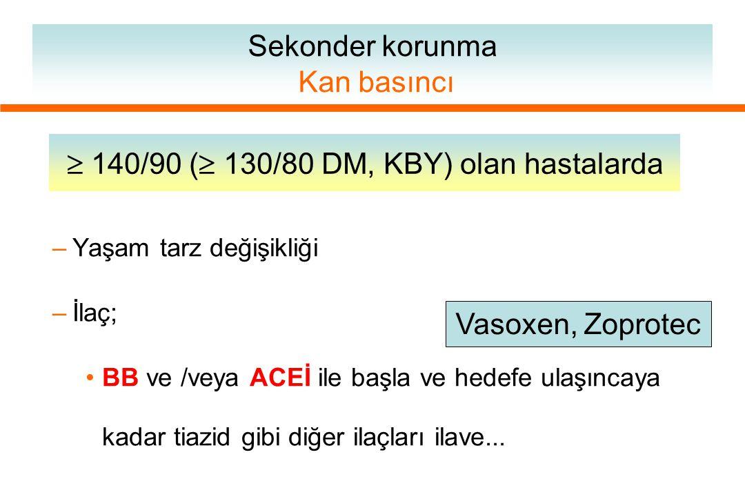 Sekonder korunma LDL< 100 mg/dl Diyet başla.