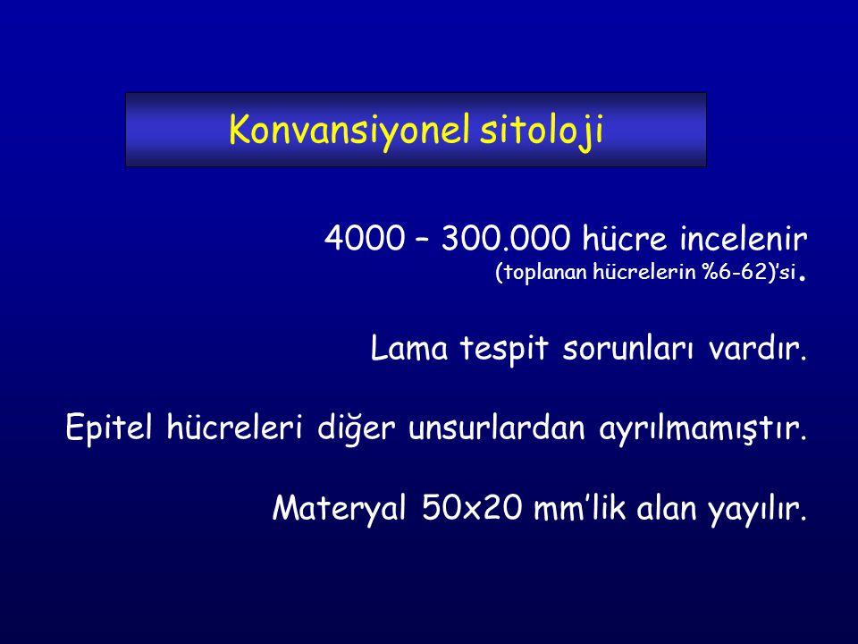 Konvansiyonel sitoloji 4000 – 300.000 hücre incelenir (toplanan hücrelerin %6-62)'si.