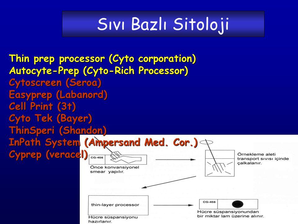 Sıvı Bazlı Sitoloji Thin prep processor (Cyto corporation) Autocyte-Prep (Cyto-Rich Processor) Cytoscreen (Seroa) Easyprep (Labanord) Cell Print (3t) Cyto Tek (Bayer) ThinSperi (Shandon) InPath System (Ampersand Med.