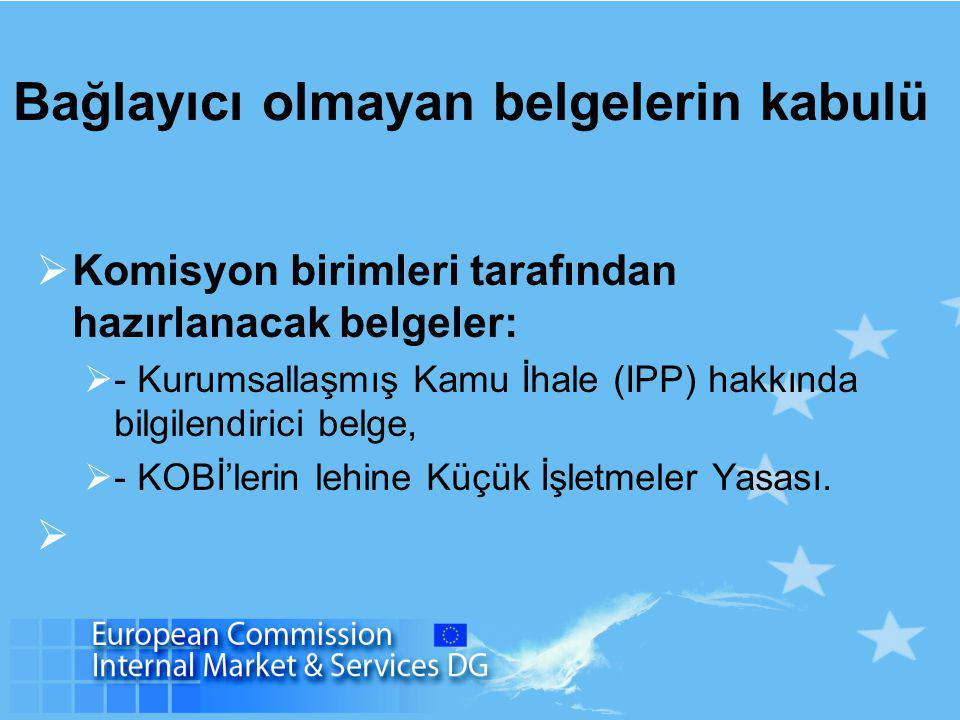 Bağlayıcı olmayan belgelerin kabulü  Komisyon birimleri tarafından hazırlanacak belgeler:  - Kurumsallaşmış Kamu İhale (IPP) hakkında bilgilendirici belge,  - KOBİ'lerin lehine Küçük İşletmeler Yasası.