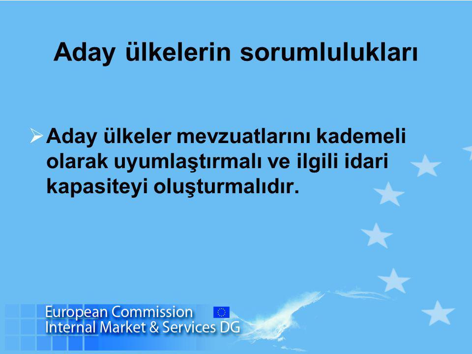 Aday ülkelerin sorumlulukları  Aday ülkeler mevzuatlarını kademeli olarak uyumlaştırmalı ve ilgili idari kapasiteyi oluşturmalıdır.