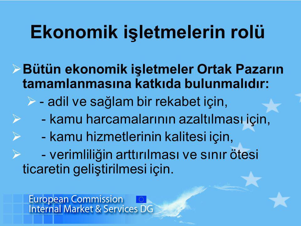 Ekonomik işletmelerin rolü  Bütün ekonomik işletmeler Ortak Pazarın tamamlanmasına katkıda bulunmalıdır:  - adil ve sağlam bir rekabet için,  - kamu harcamalarının azaltılması için,  - kamu hizmetlerinin kalitesi için,  - verimliliğin arttırılması ve sınır ötesi ticaretin geliştirilmesi için.