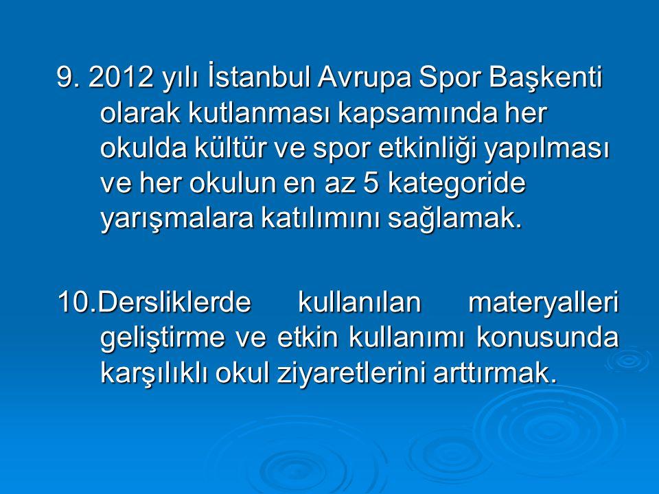 9. 2012 yılı İstanbul Avrupa Spor Başkenti olarak kutlanması kapsamında her okulda kültür ve spor etkinliği yapılması ve her okulun en az 5 kategoride