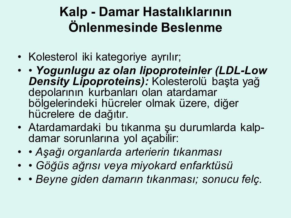Kalp - Damar Hastalıklarının Önlenmesinde Beslenme Kolesterol iki kategoriye ayrılır; Yogunlugu az olan lipoproteinler (LDL-Low Density Lipoproteins): Kolesterolü başta yağ depolarının kurbanları olan atardamar bölgelerindeki hücreler olmak üzere, diğer hücrelere de dağıtır.