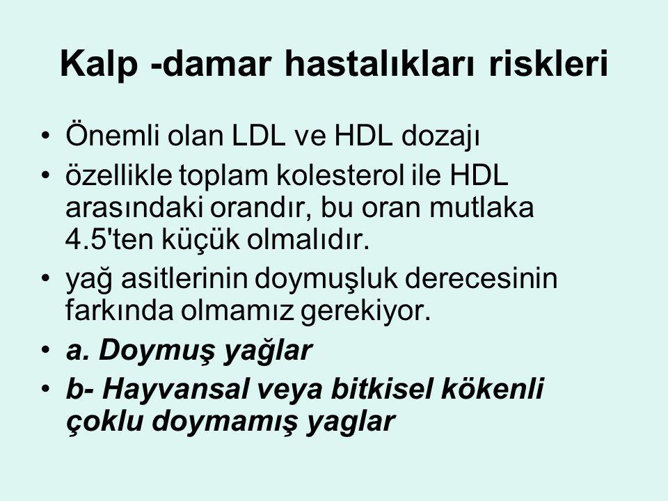 Kalp -damar hastalıkları riskleri Önemli olan LDL ve HDL dozajı özellikle toplam kolesterol ile HDL arasındaki orandır, bu oran mutlaka 4.5 ten küçük olmalıdır.
