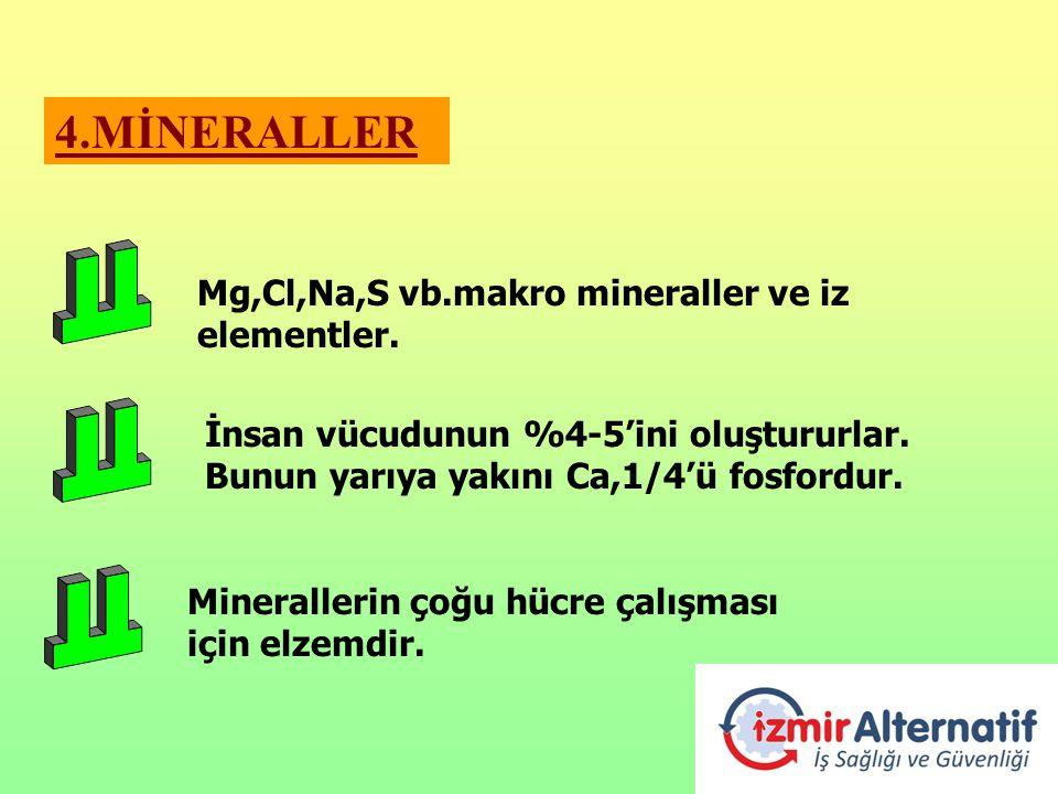 4.MİNERALLER İnsan vücudunun %4-5'ini oluştururlar. Bunun yarıya yakını Ca,1/4'ü fosfordur. Minerallerin çoğu hücre çalışması için elzemdir. Mg,Cl,Na,