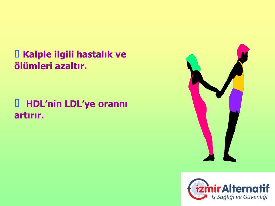 Ú Kalple ilgili hastalık ve ölümleri azaltır. Ú HDL'nin LDL'ye orannı artırır.