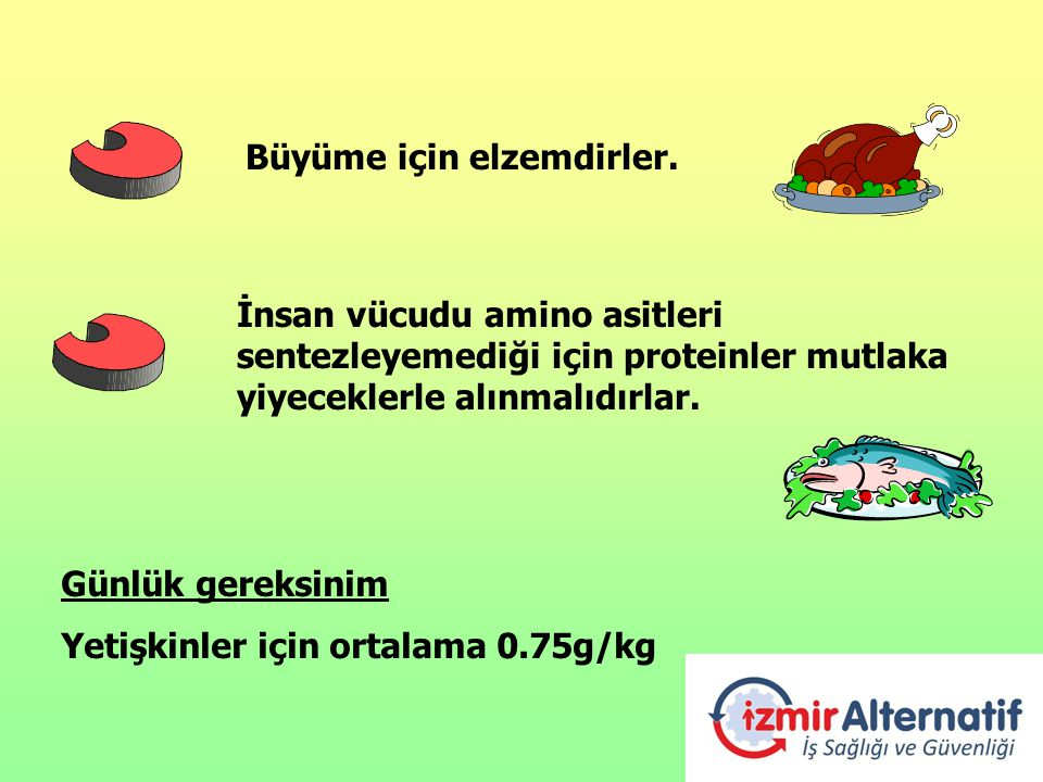 Büyüme için elzemdirler. İnsan vücudu amino asitleri sentezleyemediği için proteinler mutlaka yiyeceklerle alınmalıdırlar. Günlük gereksinim Yetişkinl
