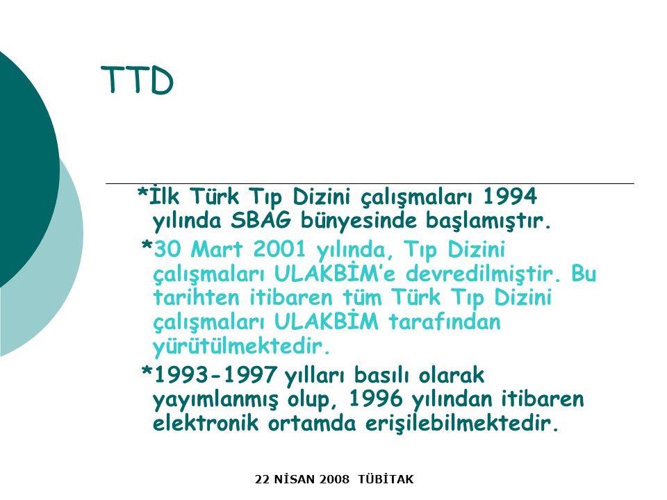 22 NİSAN 2008 TÜBİTAK TTD *İlk Türk Tıp Dizini çalışmaları 1994 yılında SBAG bünyesinde başlamıştır.