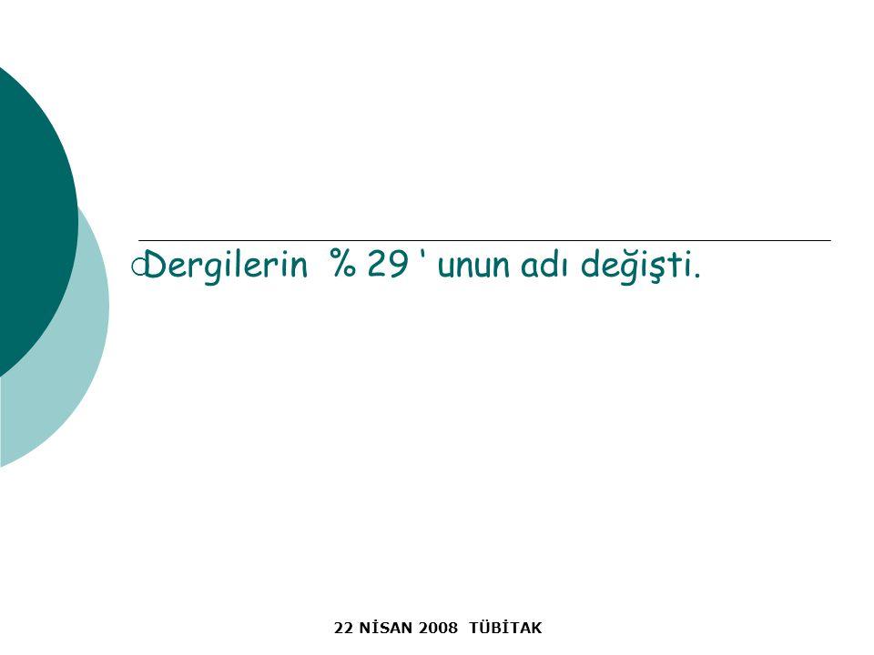 22 NİSAN 2008 TÜBİTAK  Dergilerin % 29 ' unun adı değişti.