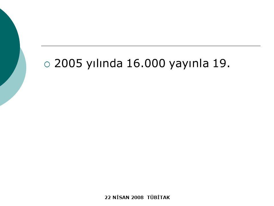  2005 yılında 16.000 yayınla 19.