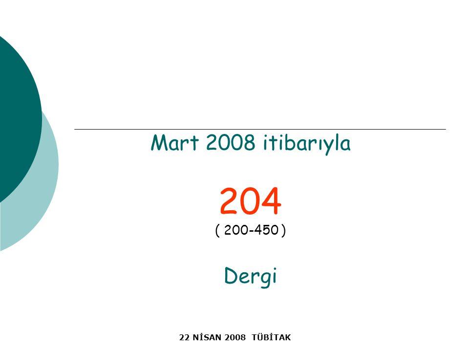 22 NİSAN 2008 TÜBİTAK Mart 2008 itibarıyla 204 ( 200-450 ) Dergi