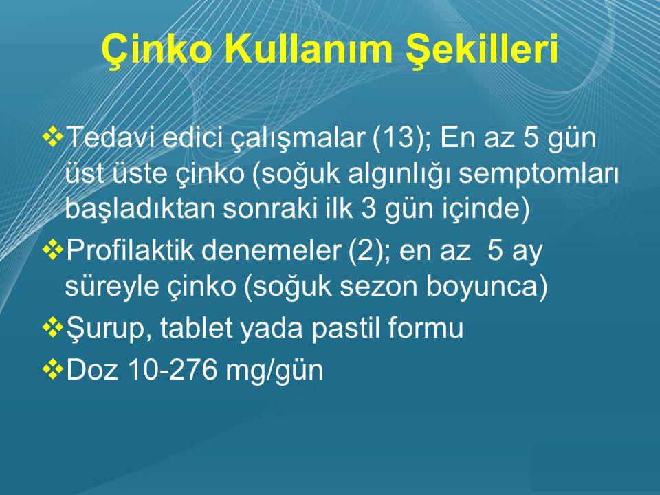 Powerpoint Templates Page 16 Çinko Kullanım Şekilleri  Tedavi edici çalışmalar (13); En az 5 gün üst üste çinko (soğuk algınlığı semptomları başladıktan sonraki ilk 3 gün içinde)  Profilaktik denemeler (2); en az 5 ay süreyle çinko (soğuk sezon boyunca)  Şurup, tablet yada pastil formu  Doz 10-276 mg/gün