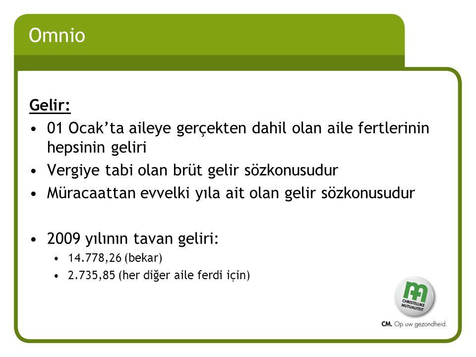 Omnio Gelir: 01 Ocak'ta aileye gerçekten dahil olan aile fertlerinin hepsinin geliri Vergiye tabi olan brüt gelir sözkonusudur Müracaattan evvelki yıla ait olan gelir sözkonusudur 2009 yılının tavan geliri: 14.778,26 (bekar) 2.735,85 (her diğer aile ferdi için)