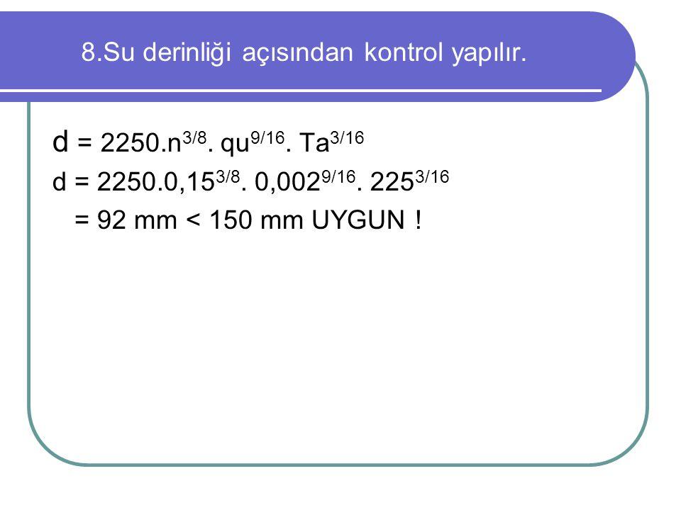 8.Su derinliği açısından kontrol yapılır. d = 2250.n 3/8. qu 9/16. Ta 3/16 d = 2250.0,15 3/8. 0,002 9/16. 225 3/16 = 92 mm < 150 mm UYGUN !