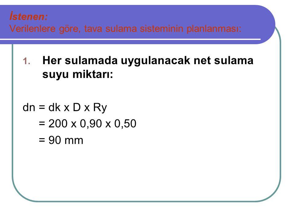 8.Su derinliği açısından kontrol yapılır.d = 2250.n 3/8.