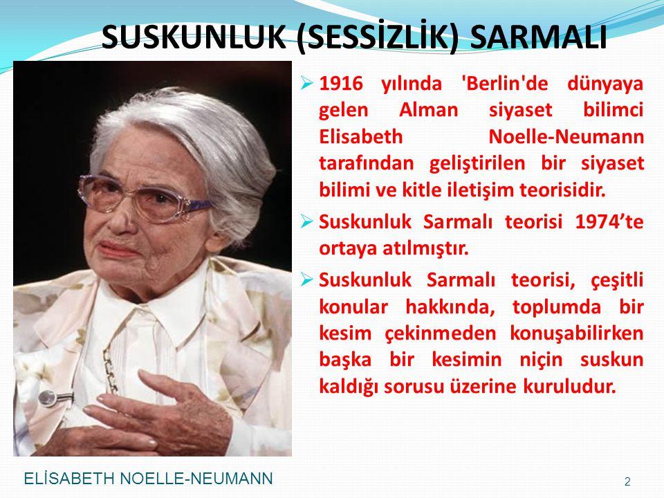  1916 yılında Berlin de dünyaya gelen Alman siyaset bilimci Elisabeth Noelle-Neumann tarafından geliştirilen bir siyaset bilimi ve kitle iletişim teorisidir.