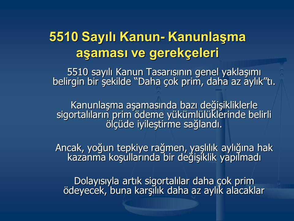 5510 Sayılı Kanun- Kanunlaşma aşaması ve gerekçeleri 5510 sayılı Kanun Tasarısının genel yaklaşımı belirgin bir şekilde Daha çok prim, daha az aylık tı.