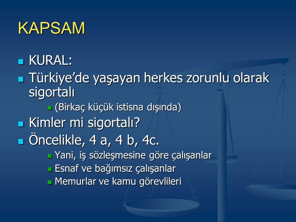 KAPSAM KURAL: KURAL: Türkiye'de yaşayan herkes zorunlu olarak sigortalı Türkiye'de yaşayan herkes zorunlu olarak sigortalı (Birkaç küçük istisna dışında) (Birkaç küçük istisna dışında) Kimler mi sigortalı.