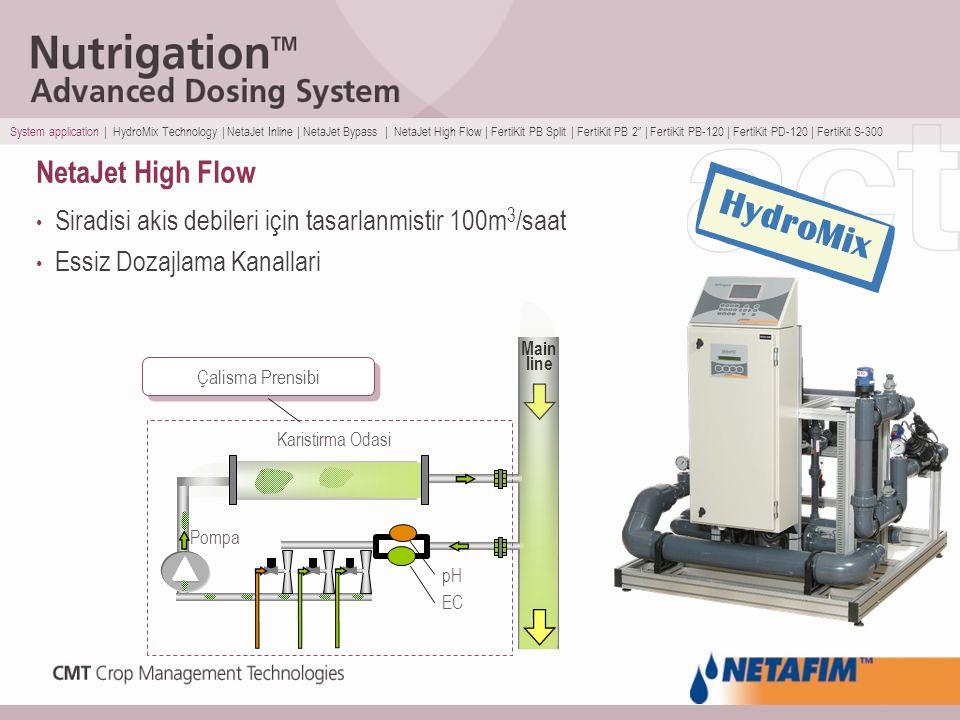 NetaJet High Flow Siradisi akis debileri için tasarlanmistir 100m 3 /saat Essiz Dozajlama Kanallari Pompa Karistirma Odasi Main line EC pH Çalisma Pre