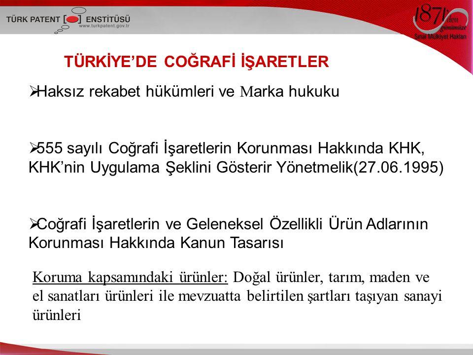 TÜRKİYE'DE COĞRAFİ İŞARETLER  Haksız rekabet hükümleri ve M arka hukuku  555 sayılı Coğrafi İşaretlerin Korunması Hakkında KHK, KHK'nin Uygulama Şek