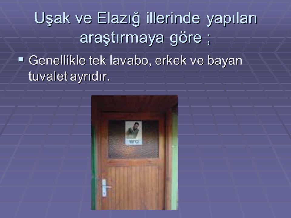 Uşak ve Elazığ illerinde yapılan araştırmaya göre ;  Genellikle tek lavabo, erkek ve bayan tuvalet ayrıdır.