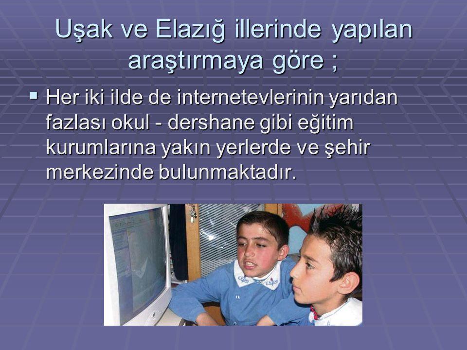 Uşak ve Elazığ illerinde yapılan araştırmaya göre ;  Her iki ilde de internetevlerinin yarıdan fazlası okul - dershane gibi eğitim kurumlarına yakın yerlerde ve şehir merkezinde bulunmaktadır.
