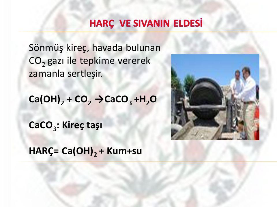 Sönmüş kireç, havada bulunan CO 2 gazı ile tepkime vererek zamanla sertleşir. Ca(OH) 2 + CO 2 →CaCO 3 +H 2 O CaCO 3 : Kireç taşı HARÇ= Ca(OH) 2 + Kum+