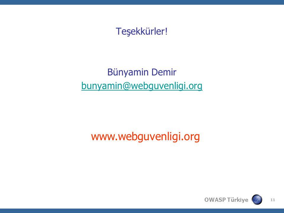 OWASP Türkiye 11 Teşekkürler! Bünyamin Demir bunyamin@webguvenligi.org www.webguvenligi.org
