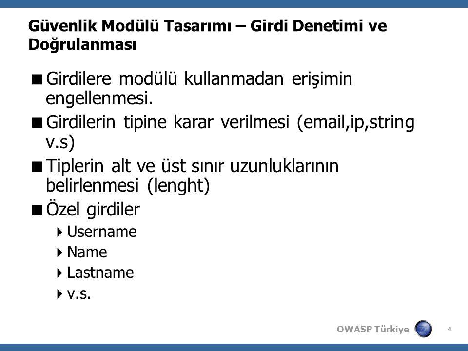 OWASP Türkiye 4 Güvenlik Modülü Tasarımı – Girdi Denetimi ve Doğrulanması  Girdilere modülü kullanmadan erişimin engellenmesi.