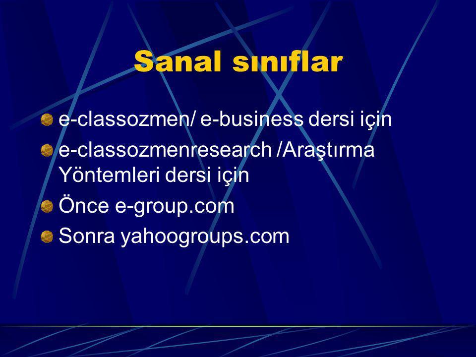 Sanal sınıflar e-classozmen/ e-business dersi için e-classozmenresearch /Araştırma Yöntemleri dersi için Önce e-group.com Sonra yahoogroups.com