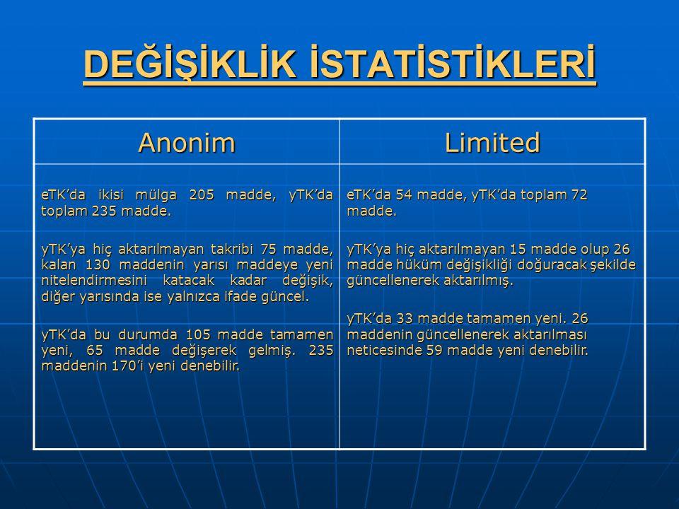 DEĞİŞİKLİK İSTATİSTİKLERİ AnonimLimited eTK'da ikisi mülga 205 madde, yTK'da toplam 235 madde. yTK'ya hiç aktarılmayan takribi 75 madde, kalan 130 mad