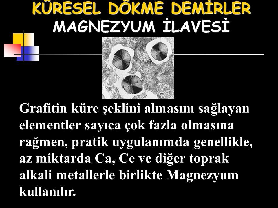 KÜRESEL DÖKME DEMİRLER MAGNEZYUM İLAVESİ Grafitin küre şeklini almasını sağlayan elementler sayıca çok fazla olmasına rağmen, pratik uygulanımda genellikle, az miktarda Ca, Ce ve diğer toprak alkali metallerle birlikte Magnezyum kullanılır.