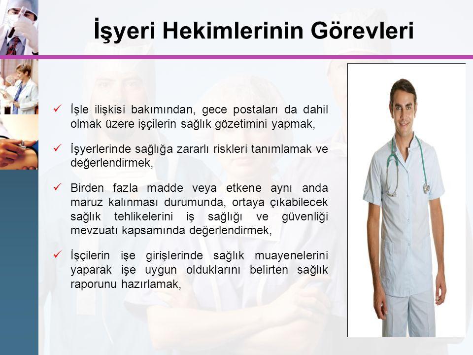 İşyeri Hekimlerinin Görevleri İşle ilişkisi bakımından, gece postaları da dahil olmak üzere işçilerin sağlık gözetimini yapmak, İşyerlerinde sağlığa z