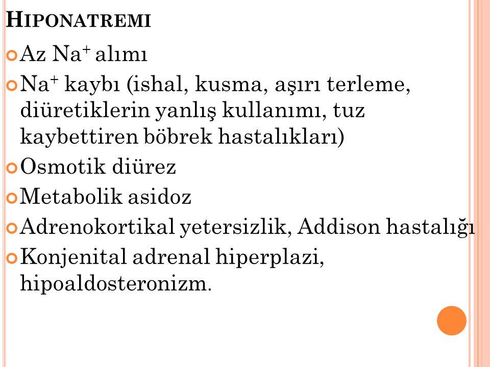 H IPONATREMI Az Na + alımı Na + kaybı (ishal, kusma, aşırı terleme, diüretiklerin yanlış kullanımı, tuz kaybettiren böbrek hastalıkları) Osmotik diüre