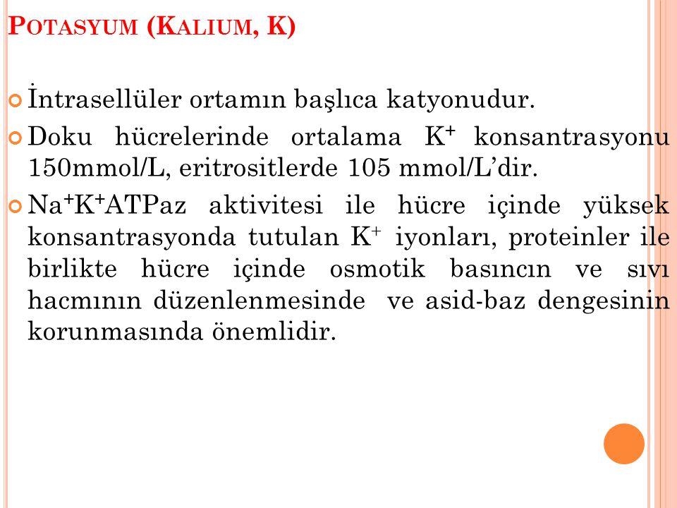 P OTASYUM (K ALIUM, K) İntrasellüler ortamın başlıca katyonudur. Doku hücrelerinde ortalama K + konsantrasyonu 150mmol/L, eritrositlerde 105 mmol/L'di