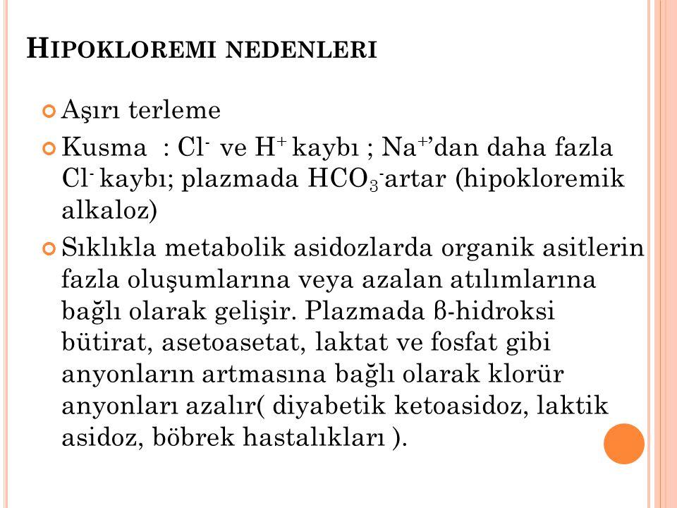 H IPOKLOREMI NEDENLERI Aşırı terleme Kusma : Cl - ve H + kaybı ; Na + 'dan daha fazla Cl - kaybı; plazmada HCO 3 - artar (hipokloremik alkaloz) Sıklık
