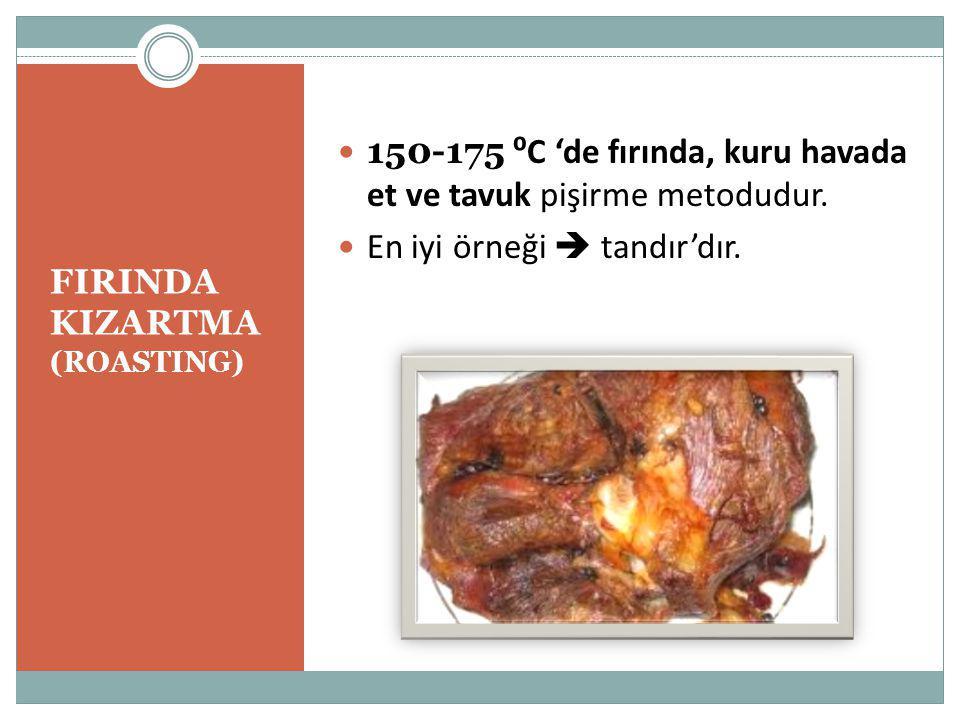 FIRINDA KIZARTMA (ROASTING) 150-175 ⁰C 'de fırında, kuru havada et ve tavuk pişirme metodudur.