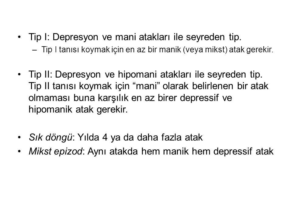 Tip I: Depresyon ve mani atakları ile seyreden tip. –Tip I tanısı koymak için en az bir manik (veya mikst) atak gerekir. Tip II: Depresyon ve hipomani