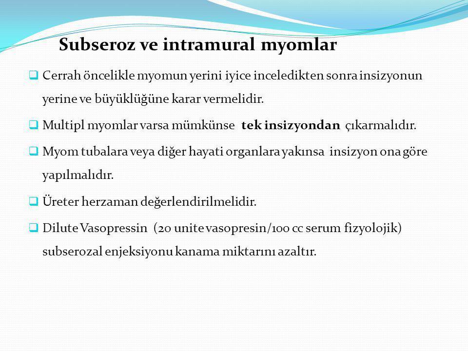 Subseroz ve intramural myomlar  Cerrah öncelikle myomun yerini iyice inceledikten sonra insizyonun yerine ve büyüklüğüne karar vermelidir.  Multipl