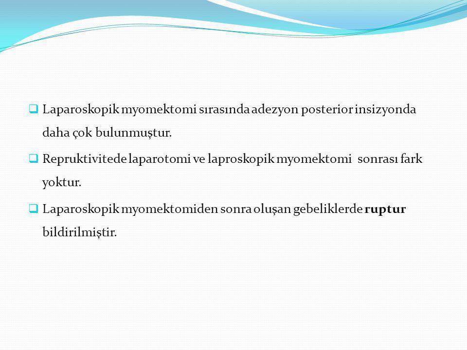  Laparoskopik myomektomi sırasında adezyon posterior insizyonda daha çok bulunmuştur.  Repruktivitede laparotomi ve laproskopik myomektomi sonrası f