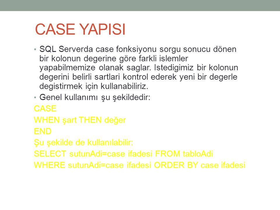 CASE YAPISI SQL Serverda case fonksiyonu sorgu sonucu dönen bir kolonun degerine göre farkli islemler yapabilmemize olanak saglar. Istedigimiz bir kol
