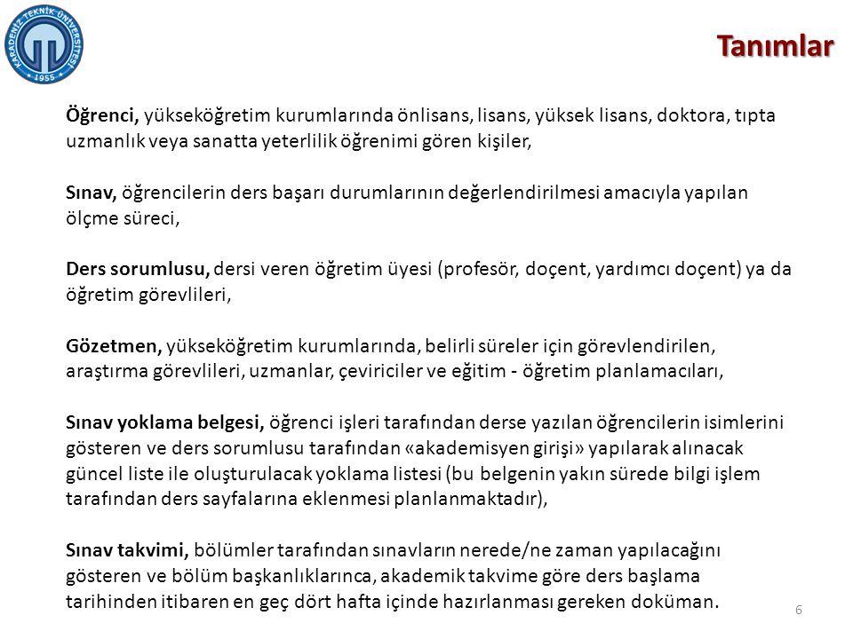 Öğrencilerin uyması gereken kurallar  Öğrencilerin Karadeniz Teknik Üniversitesi Öğrenci Kimlik Belgesini sınav süresince masa üzerinde bulundurması gerekmektedir.